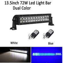 "13.5"" 72W Led Work Light Bar Combo White /Blue Green Red Amber DoubLe Color Switched Strobe Flash For Offroad ATV SUV 4X4 Truck"