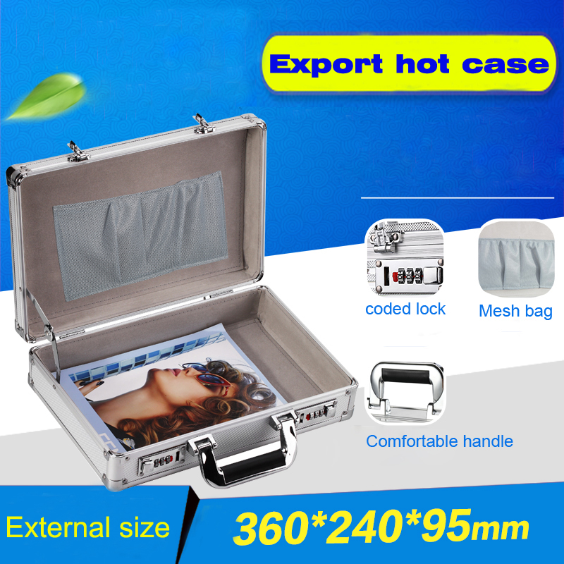 toolbox aluminium tool case magic props file storage Hard Carry carrying box tool for Hand Gun Locking Pistol 360*240*95 mm