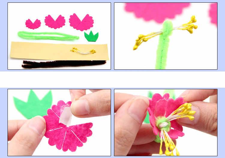 6 шт./партия, войлок бонсай из цветов наборы для ремесла детского сада ремесла украшения дома для раннего развития игрушки Детские принадлежности diy