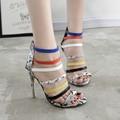 Mujeres bomba stilettos sandalias mujer sandalia tacones altos sexy bombas tacones correa de tobillo zapatos de las señoras de la boda sandalias tacones X309