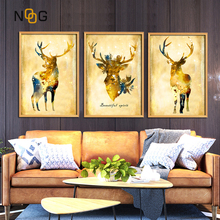 NOOG Abstract Watercolor Deer Flower Nordic Canvas Painting Art Print Poster Picture Wall Paintings Children Bedroom Home Decor