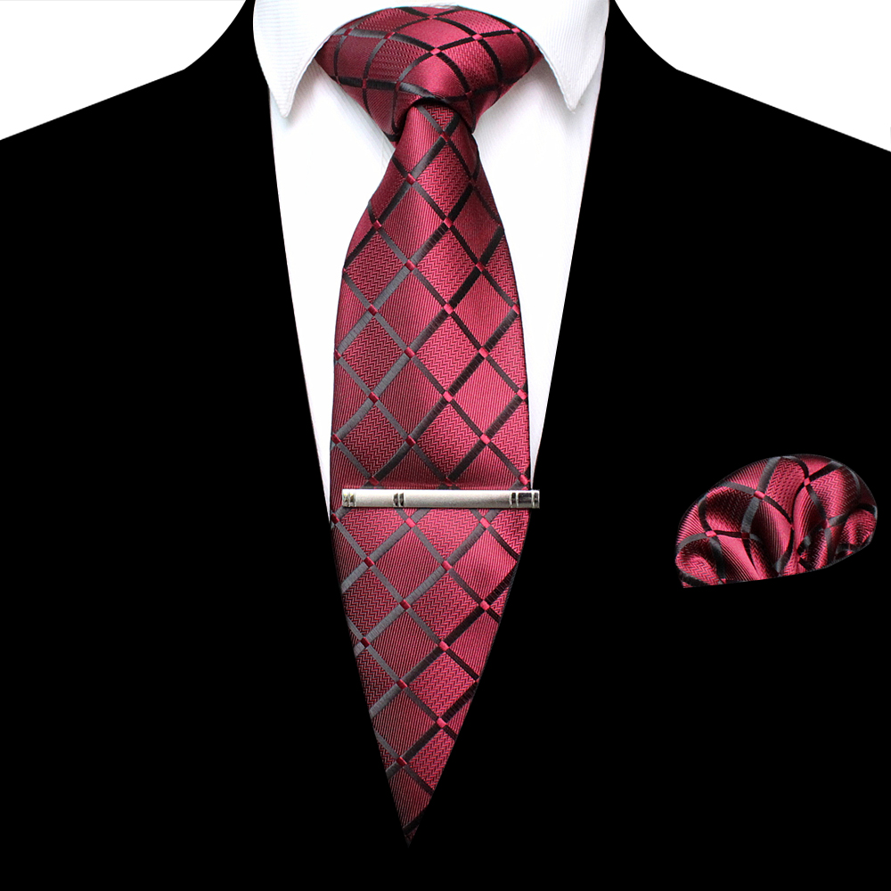 KAMBERFT New 8CM Classic Men's Tie Silk Plaid Striped Tie Pocket Square Brooch Set Suitable For Business Wedding Meeting Tie