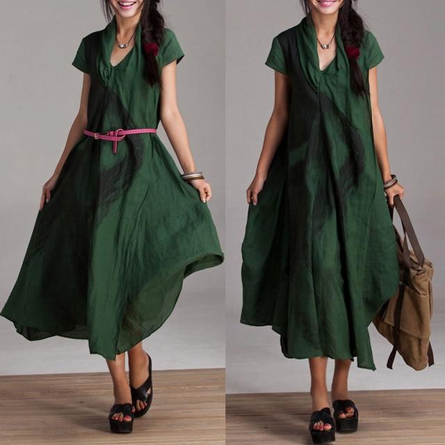 56a378267 Summer Dress 2014 Green 100% Linen Print National Trend Long Design ...