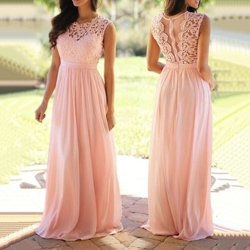 Trust LinDa Sexy See Through Long   Bridesmaid     Dresses   Pink Lace With Chiffon Party Wear   Dress   Prom Gowns 2018 Robe de Soiree