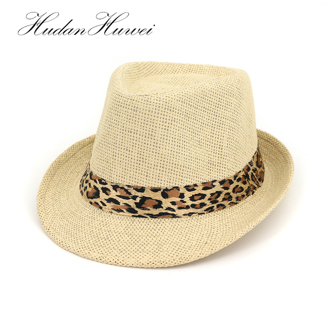 2e1f3920e17 2018 New Fashion Summer Beach Sun Hat Women Men Straw Panama Jazz Hat  leopard Band Cowboy