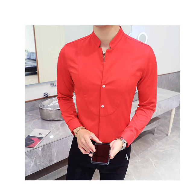 Fall Winter Stand Collar Mens Long-sleeved Dress Shirts Black Red White Slim Elegant Youth Male Business Wedding Formal Shirt 19