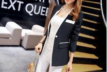 Women Casual Black White Blazer Jacket  Fashion Cuff Folds Slim Jacket Office Lady Autumn Coat Female Suits