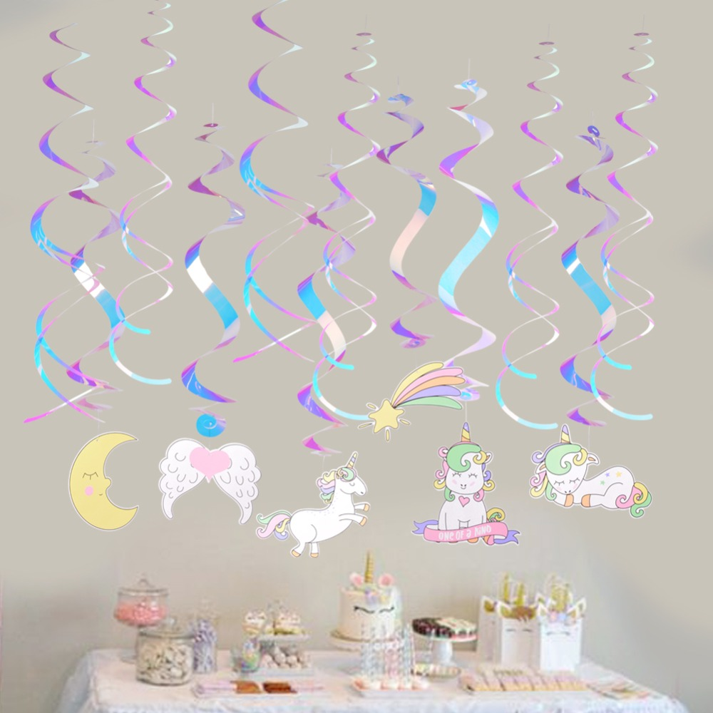Set of 12 Rainbow Sparkling <font><b>Unicorn</b></font> Party Ceiling Hanging Swirls Spirals Kids 1st Birthday Party Baby Shower image