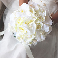 Round White butterfly Wedding Flowers Artificial Wedding Bouquets Bridal Bouquets De Mariage Wedding Photography Gallery