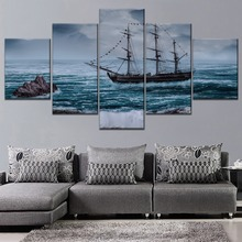 Sailboat Sea Cliff Waves Painting 5 Piece Modular Style Picture Top-Rated Canvas Print Type Home Decorative Wall Art Poster 5 piece blue sky nature rocks road landscape picture top rated canvas print type wall decor valley of fire state park poster