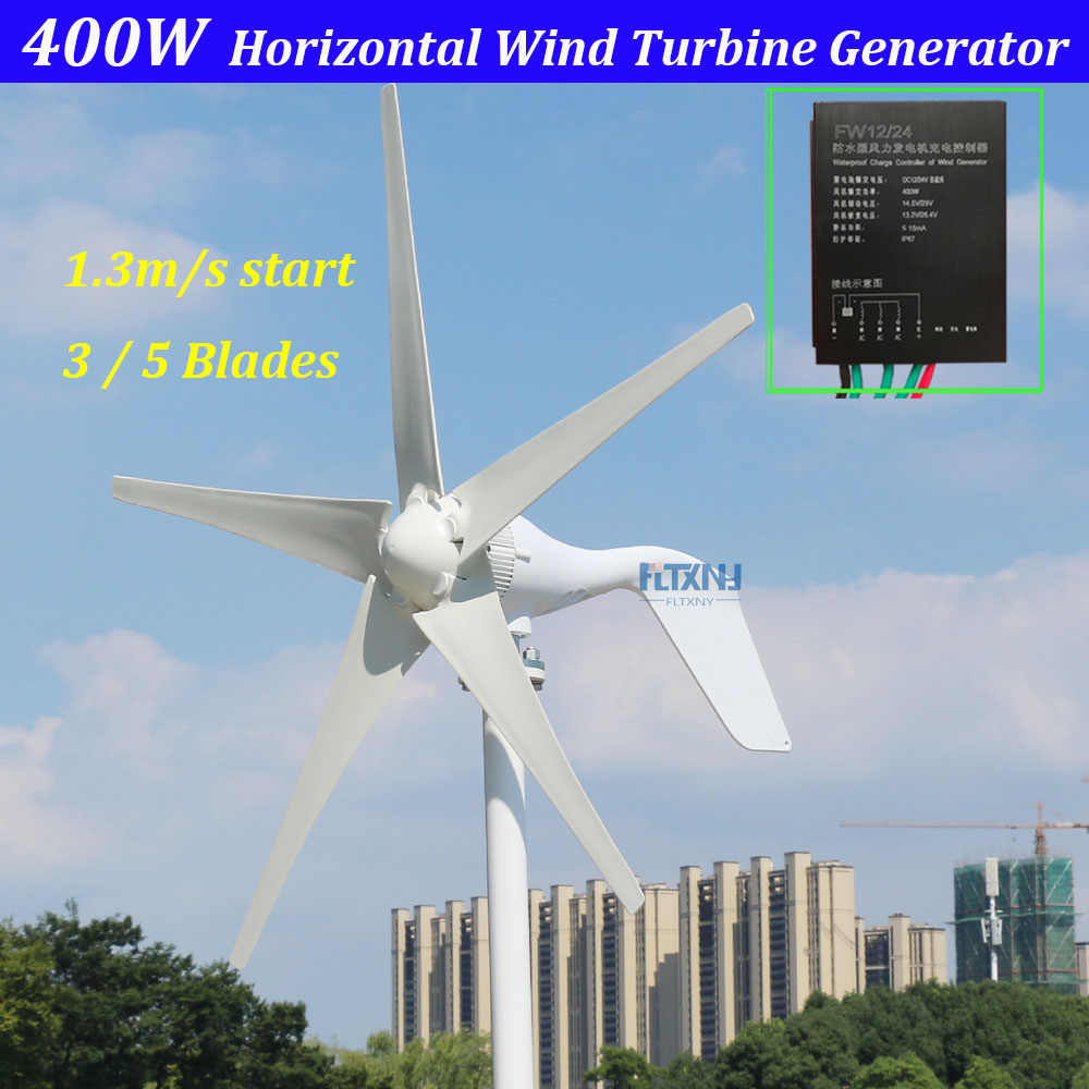 new arrival 1.3m start up 3 phase AC 12v 24vhorizontal  wind turbine with 12V 24V Auto regulator for home or streetlight use