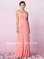 Wholesale - 2013 New Hot Sale Sexy Sweetheart Coral Chiffon Ruched Pleated Floor Length Long Bridesmaid Dresses
