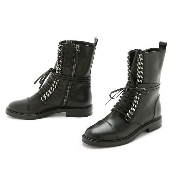 Spring Fashion Gold/Silver Chains Women Black Leather Boots Round Toe Ladies Lace Up Flat Ankle Boots Low Heel Boots ladies casual lace up flat ankle boots fashion round toe plain cow leather boots for women female genuine leather autumn boots
