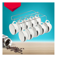 1Pcs Iron Cup Hanging Holder Under Cupboard Shelf Coffee Cup Hooks Cabinet Glass Mug Drinkware Organizer with 10 Hooks(China)
