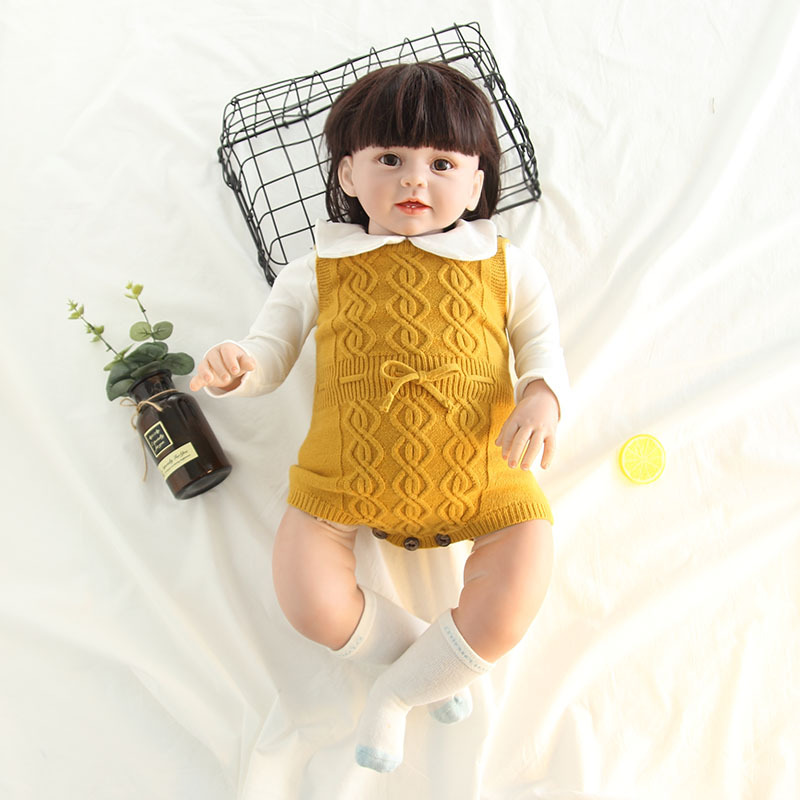 Newborn Baby Girls Sleeveless Knitted Romper Jumpsuit Outfits