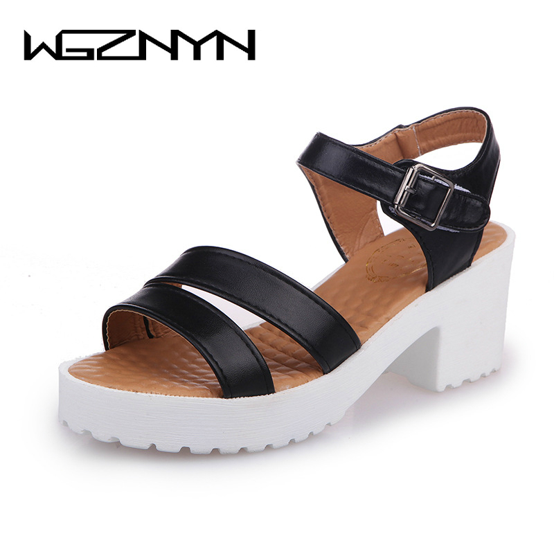 WGZNYN 2018 New Summer Shoes Women Open Toe Heel Wedges Platform Shoes Fashionable Casual Sandals Female Mujer Sandalias 35-45 vtota 2017 fashion wedges women sandals bling summer shoes woman platform sandalias soft leather open toe casual women shoes r25