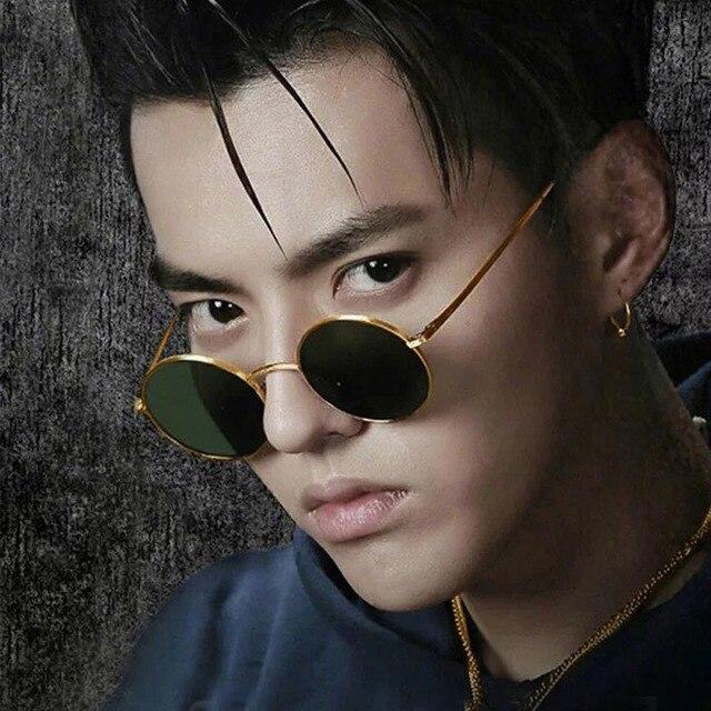 Винтаж Круглые Солнцезащитные очки Для мужчин Для женщин знаменитости Хип-Хоп Ретро солнцезащитные очки прозрачные желтые линзы очки небольшие очки Óculos Прохладный