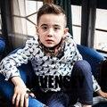 Lavensey luxo branco com azul escuro padrão pomba bebê meninos camisetas crianças outono roupa dos miúdos lapela collarboy clothing