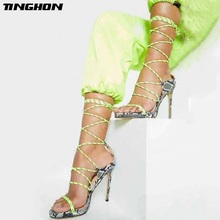 TINGHON New Serpentine Pointed Toe Thin High Heels Sandals Women Gladiator Ladies Shoes Lace-Up Pumps Office Black Size35-40