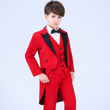 цена Tuxedo Red Formal Boys Suits for Weddings Boy Blazer Costume Enfant Garcon Mariage Conjunto Menino Fashion New Arrival 2018 онлайн в 2017 году