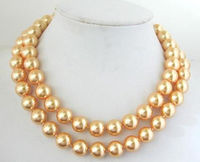 FREE SHIPPING HOT sell new Style >>>>NEW!10mm Gold South Sea Shell Pearl Round Beads Necklace 32
