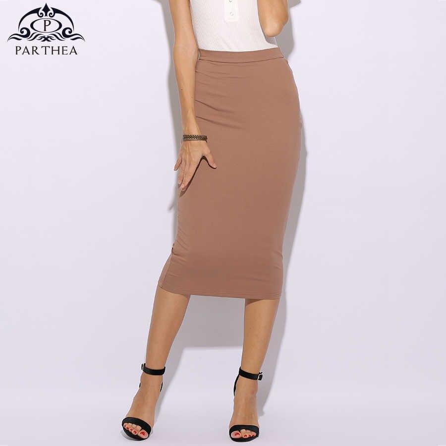 4b047857f38dd Parthea 2 Layers Pencil Skirts Womens High Waist Skirt White Sexy Long  Skirt Midi Plus Size Cotton Bodycon Skirt Saia Midi Saias