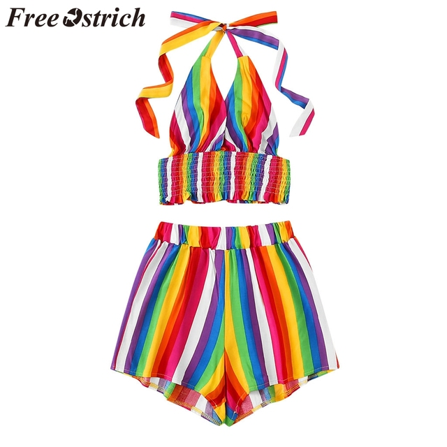 FREE OSTRICH Women Shirts Rain Bow Striped Sleeveless Blouse + Shorts Two-Piece Outfit Honorable Elegant Summer Blouse Shirts