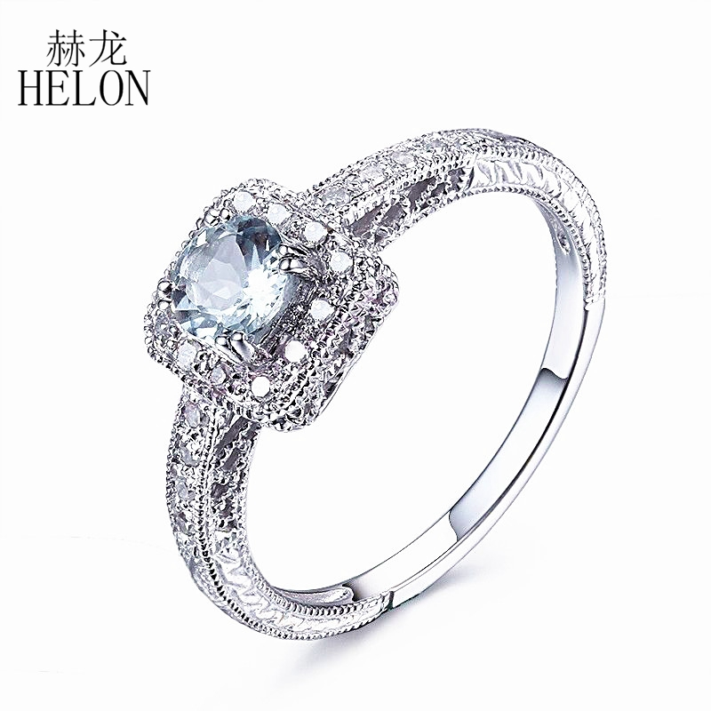 HELON Solid 14K White Gold 4.5mm Round Cut Natural Aquamarine Genuine Diamonds Ring Art Deco Vintage Engagement Gemstone Ring