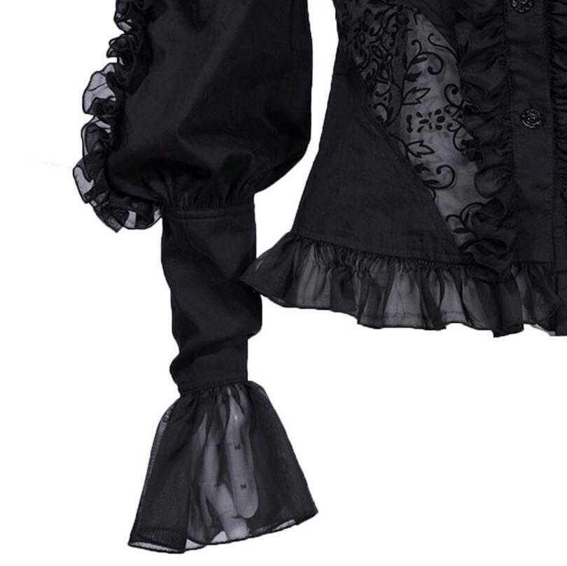 Dentelle Hauts Sexy Blouse Single Thougth Chemise Lolita Oreilles Taille Up Ruches Lacip Noir Voir Bandage Bois breasted Femme 2019 Mince 8FBfUB