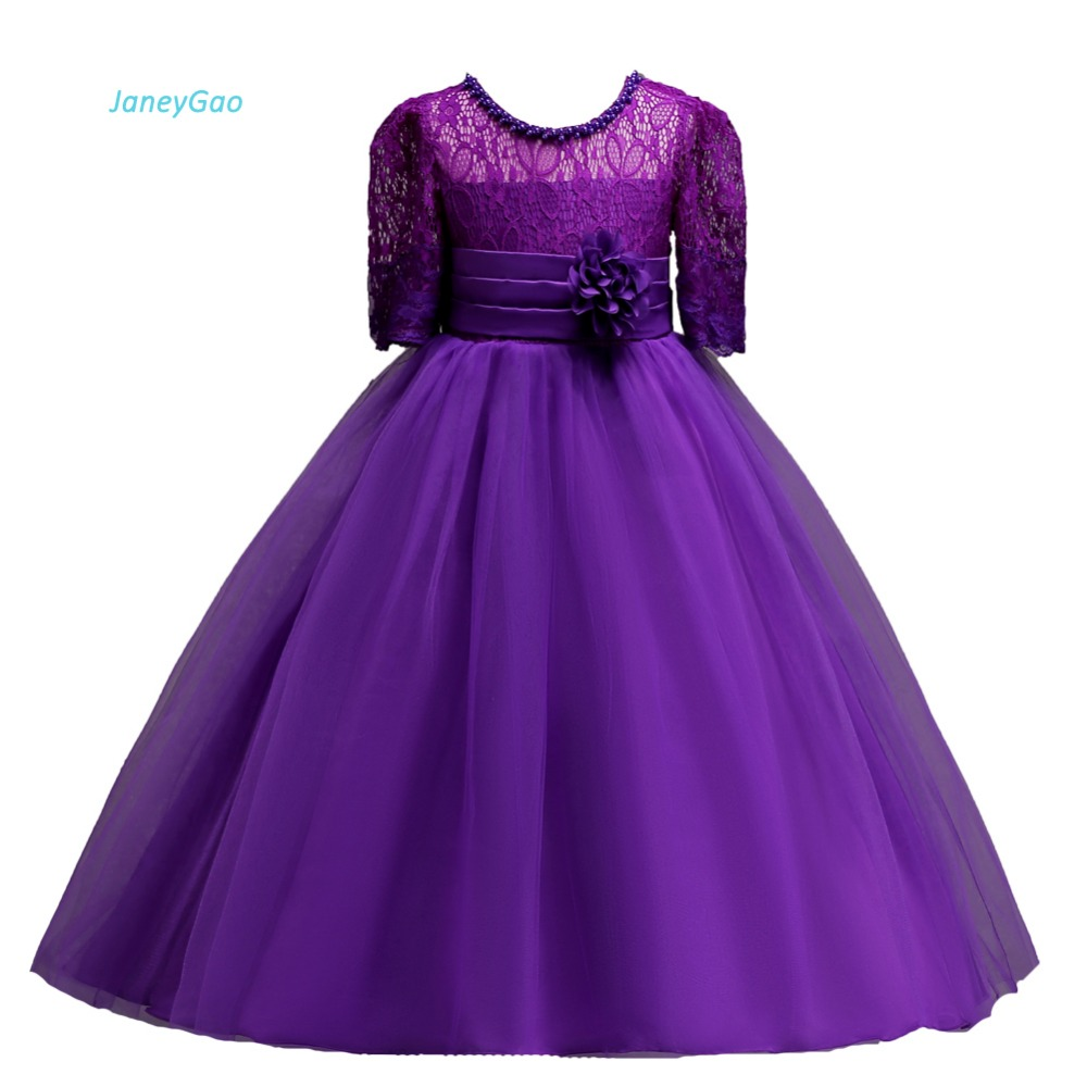 JaneyGao   Flower     Girl     Dress   For Wedding Party Purple Teenage   Dress   First Communion   Dress   2018 Newr Gown With Sleeves Hot Sale