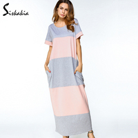 Siskakia Gray Pink Color Block Patchwork Maxi Long Dress Women Round Neck Short Sleeve Casual Loose