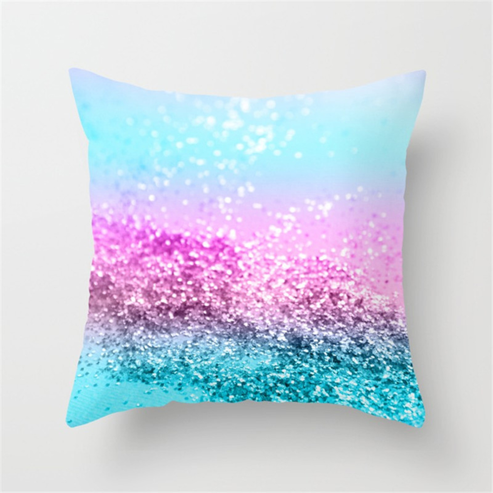 Enipate Luxurious Paillette Printed Throw Pillow Case Colorful Gold Shining Peach Skin Velvet Soft Sofa Cushion Cover Home Decor