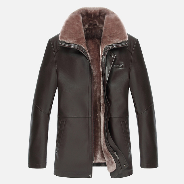 Winter fur collar new men's thicken velvet leather coat business casual leather jacket men warm jaqueta de couro