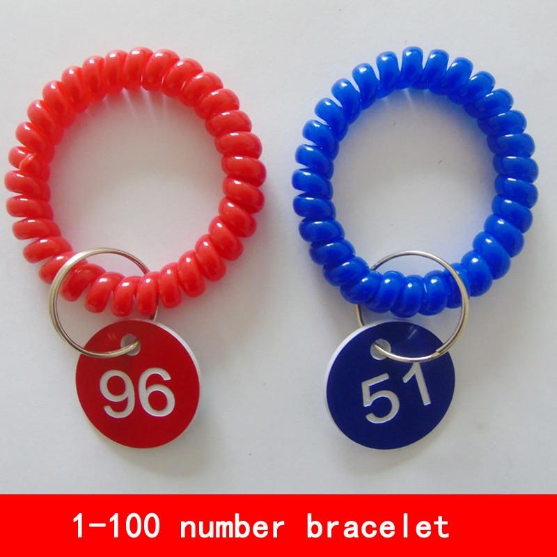 blue red can choose 1-100 number Deposit Cabinet number with elastic bracelet