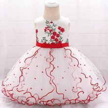 2019 Summer Baby Girl Clothes Christening Dress For Baby Girl Clothing Kids 1st Birthday Party Wedding Princess Dress 3 6 Months(China)
