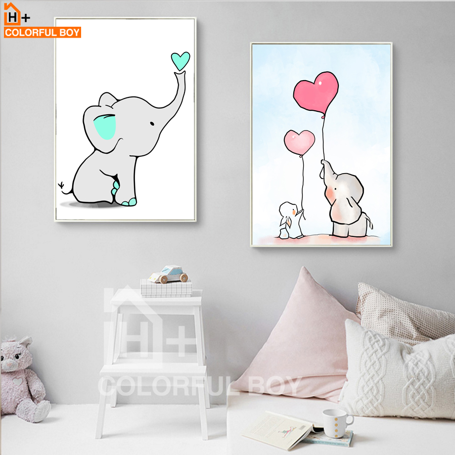 COLORFULBOY Elephant Love Balloon Wall Art Canvas Slikanje nordijskih - Dekor za dom - Fotografija 3
