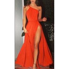 Fashion Orange Prom Dress Evening Wear One Shoulder Pleats High Leg Split Draped Chiffon Formal Party Runway Gowns
