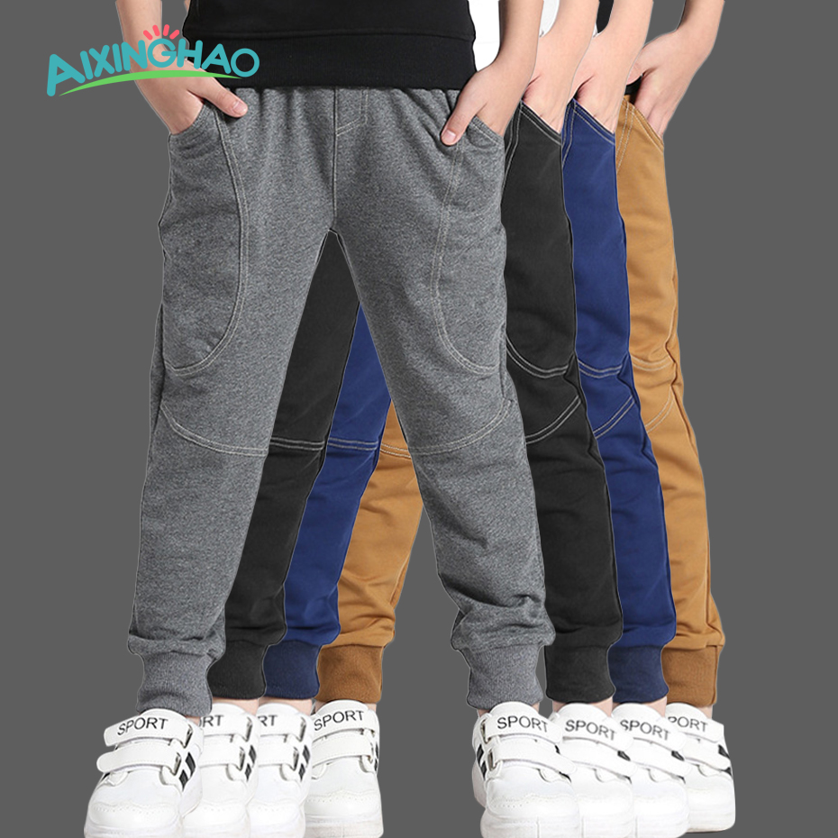Aixinghao Teenage Boys Pants Cotton Pockets Kids Sports Pants For Boys Solid Autumn 6 8