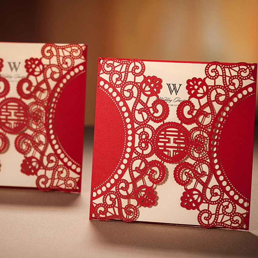 Chinese Wedding Invitations Nyc: Free Shipping 50pcs Chinese Laser Cut Red Wedding