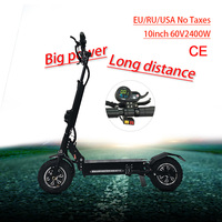 JS 60V2400W Adult Electric Scooter with seat Two motor wheel foldable hoverboard off road tire electric kick scooter e scooter