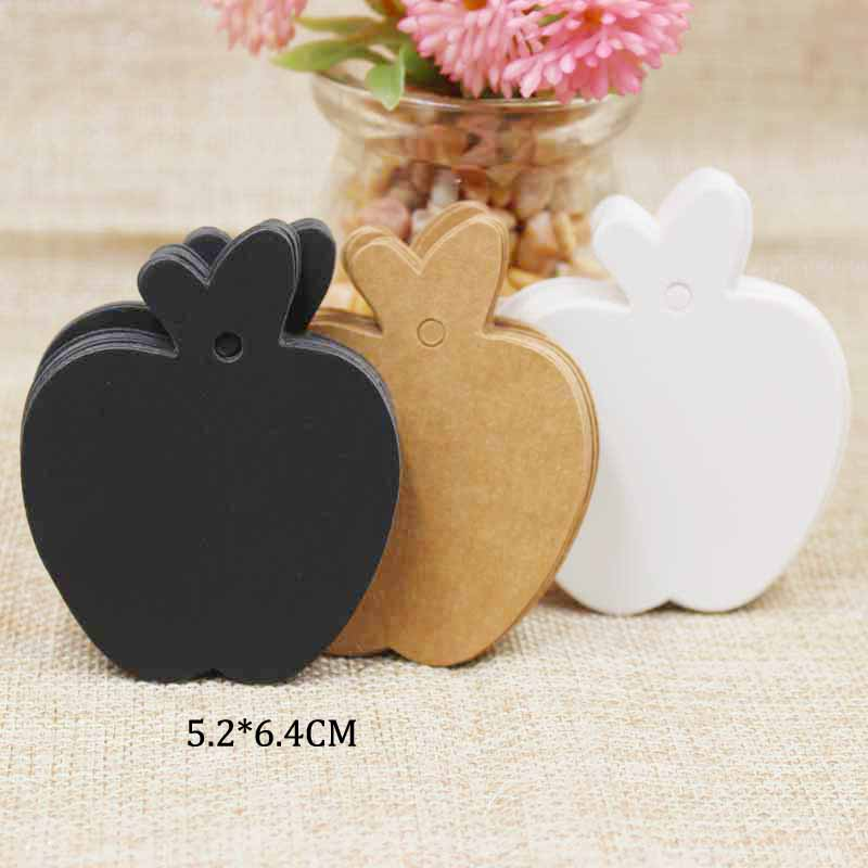 zerongE jewelry Apple Shape brown Paper gift swing tagging tag black/white garment cloth products tag labe 200pcs+200 ropes 1