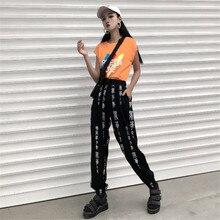 Harajuku Pants Women Elastic Waist Fashion Chinese Characters Print Loose Calf-L