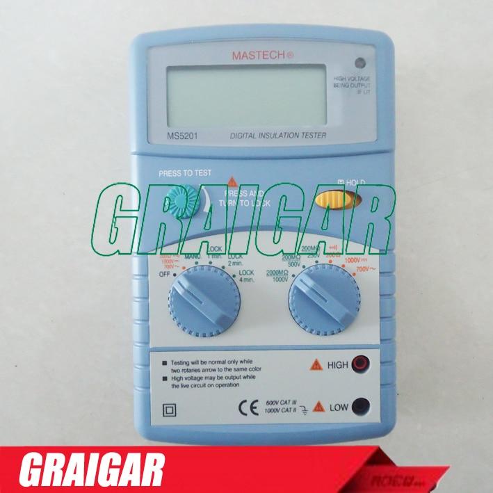 Genuine MS5201 Digital megger , Insulation resistance tester , Sound and light alarm mastech ms5201 digital megger megometro mega ohm insulation resistance tester ac dc voltage detector with alarm