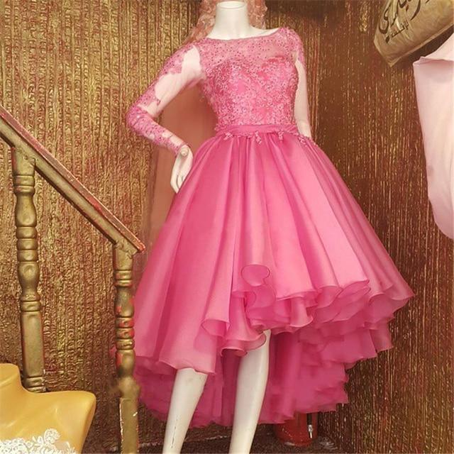 Vestidos 2017 Long Sleeve Prom Dresses Hi Lo Style Pink Organza ...
