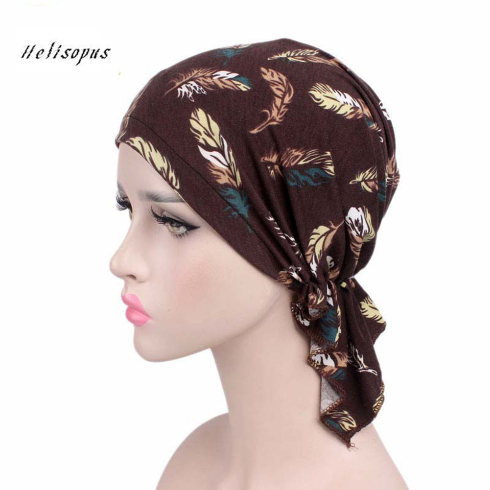 Helisopus Women's New Cotton Elastic Print Scarf Cap Hair Accessories Chemo Bandana Hat Ladies   Headwear   Beanie Turban