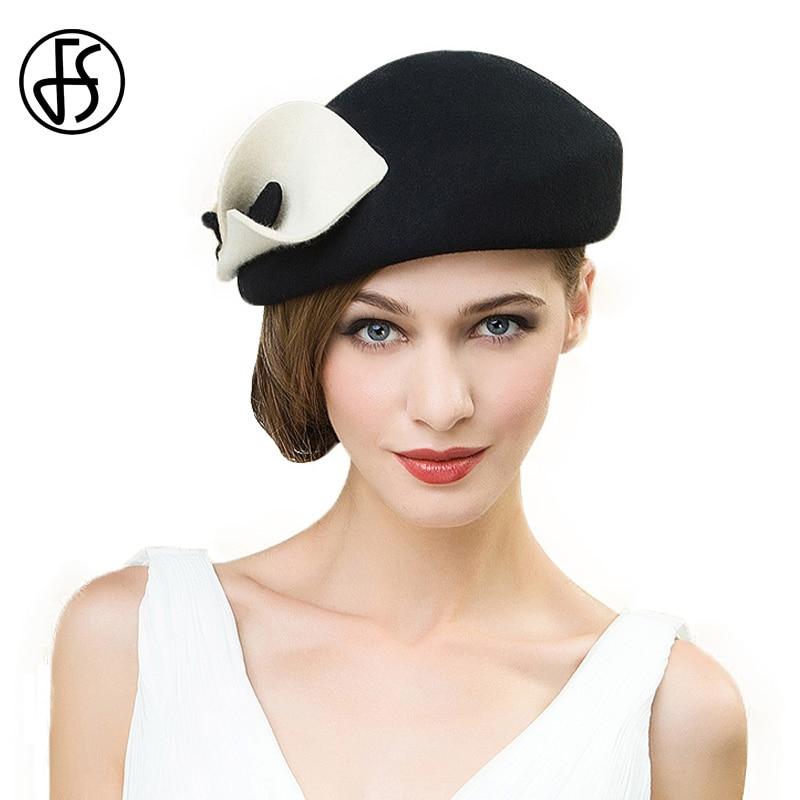 FS Vintage negro y Beige blanco boina sombrero con flores 100 ...