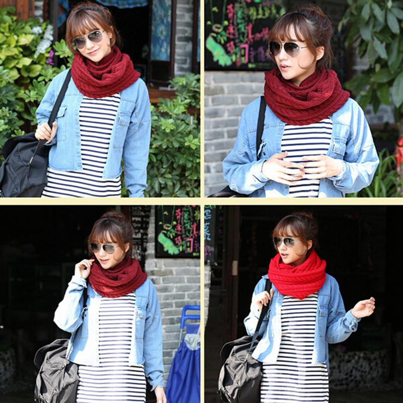 Style Unisex Winter Scarf Knitting Scarves Wool Collar Neck Warmer Woman Crochet Ring Scarf T0 20