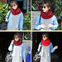 Style Unisex Winter Scarf Knitting Scarves Wool Collar Neck Warmer Woman Crochet Ring Scarf T0.20