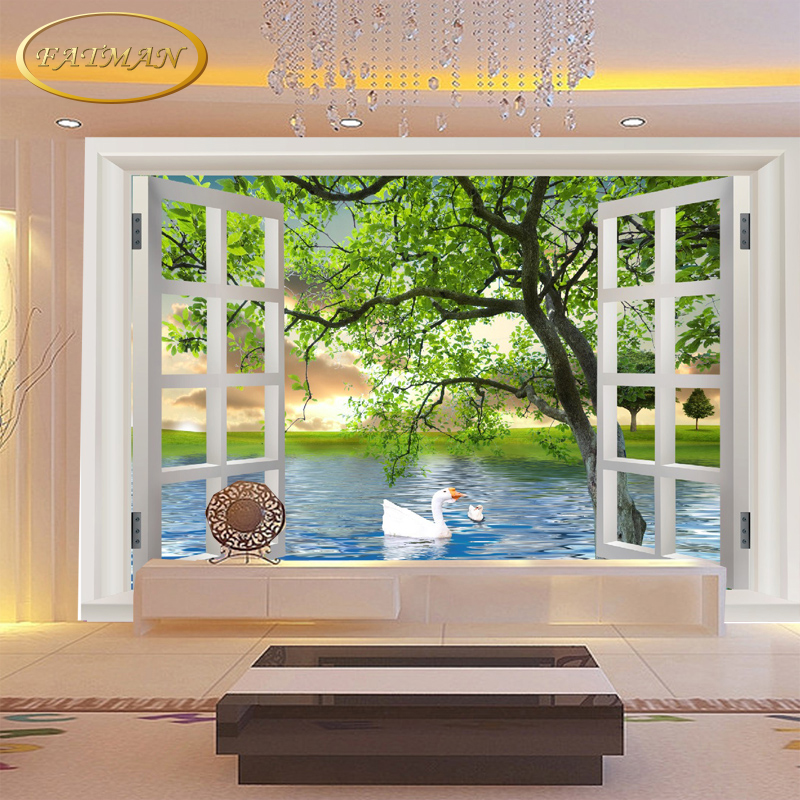 Custom 3D photo wallpaper modern wallpaper mural fake windows swan tree landscape wallpaper mural papel de parede custom 3d photo wallpaper waterfall landscape mural wall painting papel de parede living room desktop wallpaper walls 3d modern