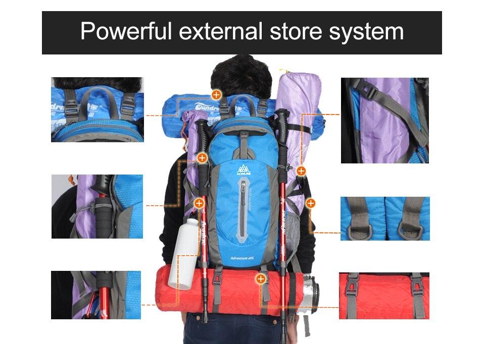 AONIJIE Sport En Plein Air Camping sacs à bandoulière sac à dos de voyage Vélo sacs de randonnée sacs à dos imperméables 40L 50L - 6